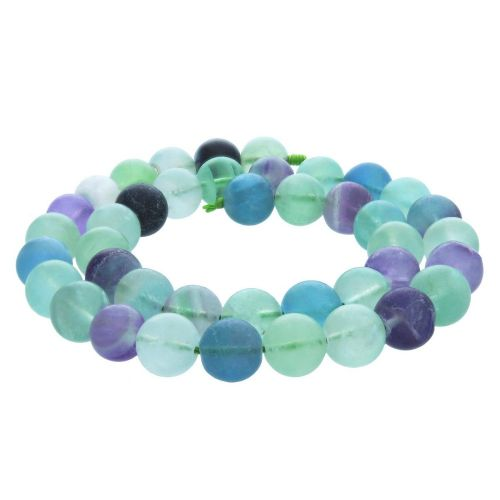 Rainbow fluorite / matte finish / round / 12mm / 34pcs