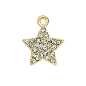 SweetCharm ™ Christmas star / charm pendant / 14x12x2mm / pale pink / gold plated / 1pcs