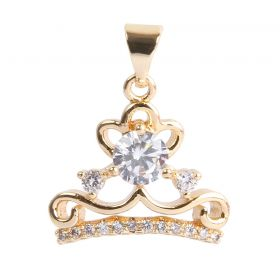 Gold Plated Crown Charm w/Bail Zircon Crystals 12x16mm Pk1