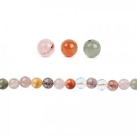 Multi Colour Rutilated Quartz Round Beads 8mm Pk20