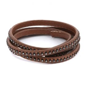 Brown Large Crystal Faux Leather Flat Cord 6mm Pre Cut 1metre