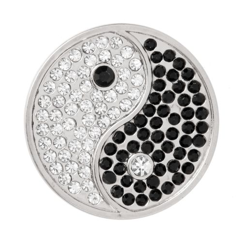X-Matte Silver Plated Yin and Yang Crystal Coin Disk for Interchangeable Locket 32mm Pk1