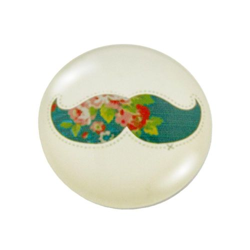 Glass cabochon with graphics K20 PT1003 / beige-turquoise / 20mm / 2pcs