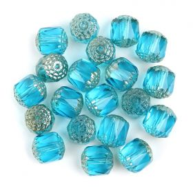 Preciosa Pressed Cathedral Beads Turquoise/Silver 10mm Pk20