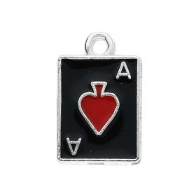 SweetCharm ™ Ace of hearts / charm pendant / 18x11x1mm / silver-black-red / gold plated  / 2 pcs