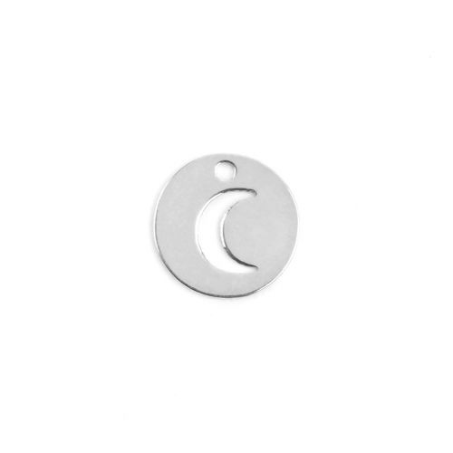 X-Sterling Silver 925 Tiny Charm Cut Out Lunar/Moon 8mm Pk1