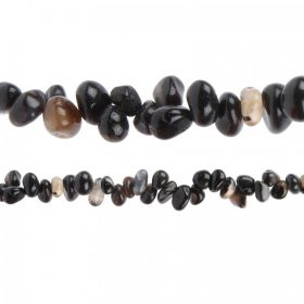 "Black Striped Agate Hand Crafted Nugget Beads 7"" Strand"