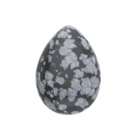 Snow obsidian / cabochon / drop / 14x10x5mm / 1pcs