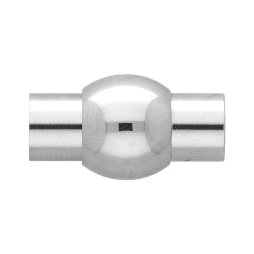 Magnetic clasp / surgical steel / cylindrical with ball / 18x9.5x9.5mm / silver / hole 5mm / 1pcs