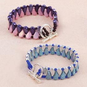 Silver and Purple/Pink Paisley Duo TAMB Bracelet Kit - Makes x2