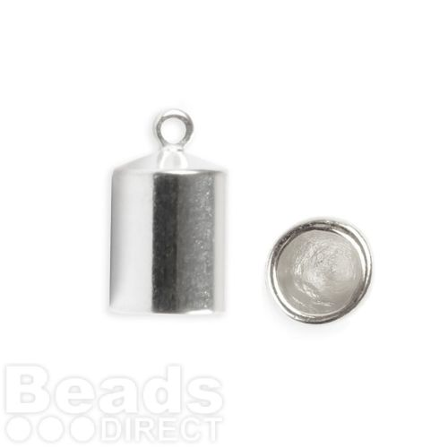 Silver Plated Barrel End Cap for 6mm Cord 7x12mm Pk2