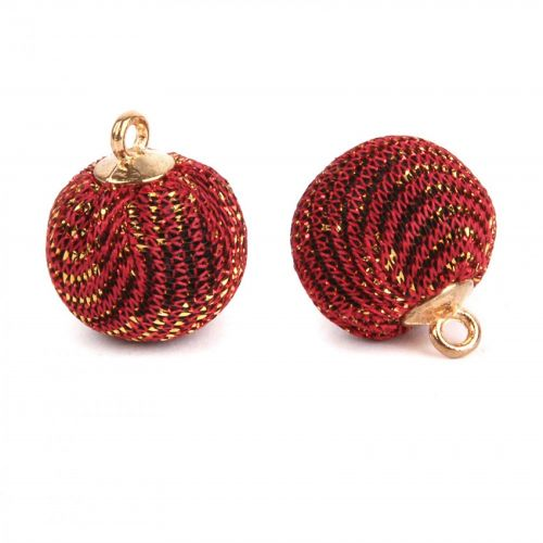 Dark Red Glitter Fabric Ball Charm with Loop 16mm Pk2