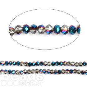 "Cobalt 1/2 Coated Essential Crystal Glass Faceted Rondelle Beads 4mm 16""Strand"