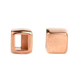 Rose Gold Plated Zamak End Bead Stopper/Slider 7x8mm Pk2
