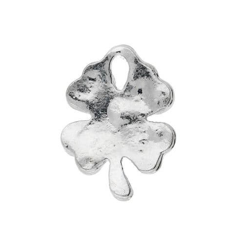 Glamm ™ Clover / charm pendant / with zircons / 17x13x2.5mm / silver plated / 1pcs