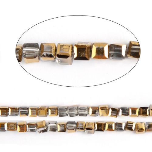 """X-Gold 1/2 Coated Essential Crystal Faceted Cube Beads 3mm 13"""" Strand"""