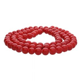 Coated beads / round / 6mm / red / 130pcs