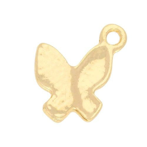 Glamm ™ Butterfly / charm pendant / with zircons / 17x14x2mm / gold plated / Crystal / 2pcs