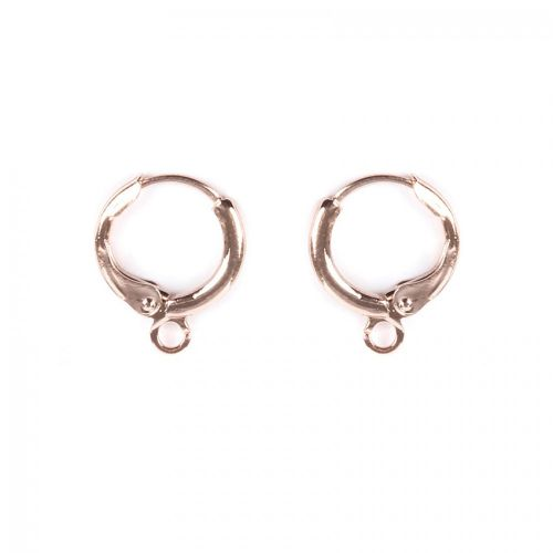 X Rose Gold Plated Round Earring Base with Loop 11mm 1xPair