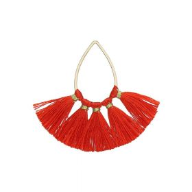 Tassel / viscose thread / teardrop / 36mm / red / 1pcs