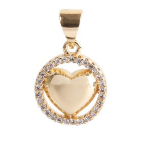 Gold Plated Puffy Heart Round in Circle Charm w/Bail Zircon Crystals 12mm Pk1