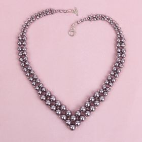 Mauve Graduated Pearl Necklace made with Swarovski - Makes x1