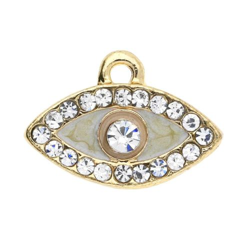 Glamm ™ Eye of the prophet / charm pendant / with zircons / 11x15x2.5mm / gold plated / 2pcs