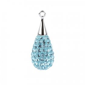67563 Swarovski Crystal Pave Drop 10x26mm Rhodium Plated Aquamarine Pk1