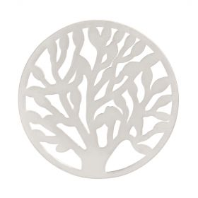 Matte Silver Plated Tree of Life Filigree Coin For Interchangeable Locket 32mm Pk1