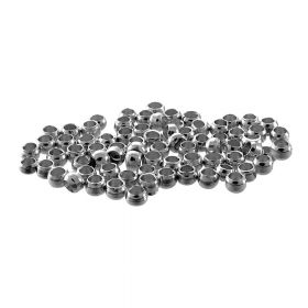 Copper spacer beads / round / 3mm / silver / hole 1.2mm / 100pcs