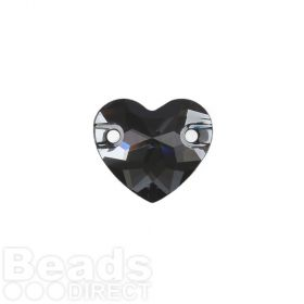 3259 Swarovski Crystal Heart Sew On Stone 12mm Crystal Silver Night F Pk1
