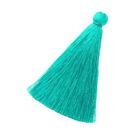 Tassel / viscose thread / 70mm / width 10mm / emerald-blue / 1pcs