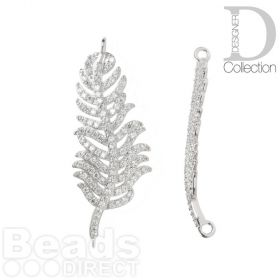 Silver Plated Leaf/Feather Connector Charm Cubic Zirconia Pave Set 16x39mm Pk1