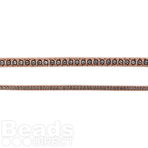 X-Rose Gold Swarovski Real Leather with Crystals 6mm approx 50cm