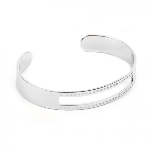 Silver Plated Brass Bracelet Base with Cut Out Centre & Small Holes 10x58mm Pk1