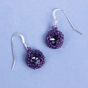 Tanzanite Bezel Earrings made with Swarovski - Makes x1 Pair