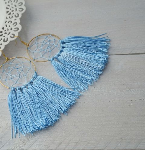 How to make dream catcher earrings with tassels. DIY earrings with tassels