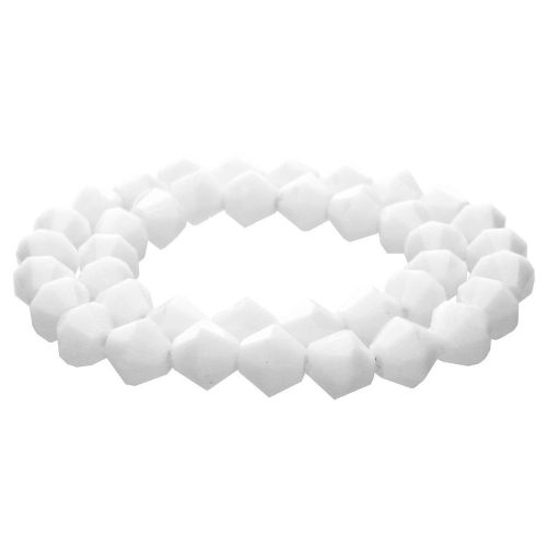CrystaLove™ crystals / glass / bicone / 8mm / white / lustered / 40pcs
