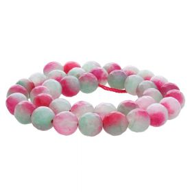 Agate / faceted round / 10mm / pink-green-white / 35pcs