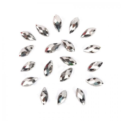Silver Crystal Glass Faceted Drop Beads 6x12mm Pk20