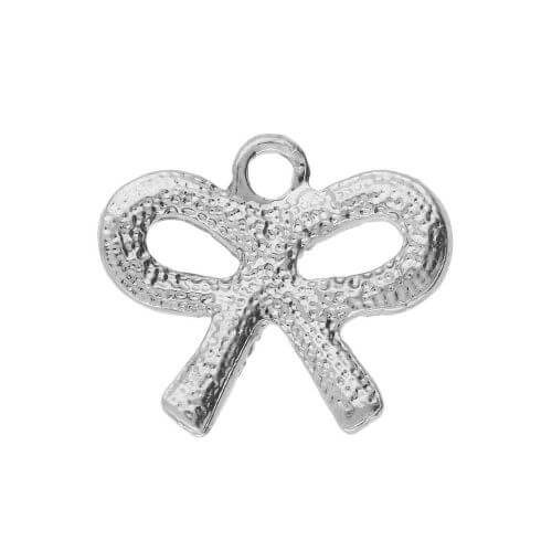 Glamm ™ Bow / charm pendant / with zircons / 15.5x18mm / silver plated / 1pcs