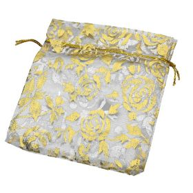 Organza bag / 10x12cm / white with gold roses / 5pcs