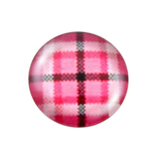 Glass cabochon with graphics K25 PT1127 / pink / 25mm / 2pcs