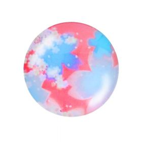 Glass cabochon with graphics K20 PT1472 / blue-pink / 20mm / 2pcs