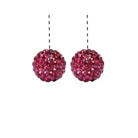Hot Pink Premium Shamballa Fashion Half Drilled 10mm Round Beads Pk2