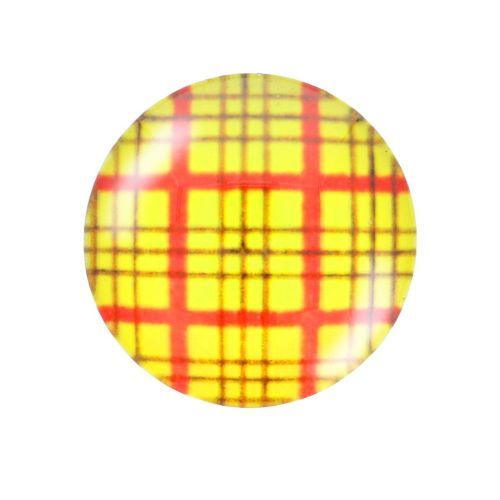 Glass cabochon with graphics K14 PT1376 / yellow / 14mm / 4pcs