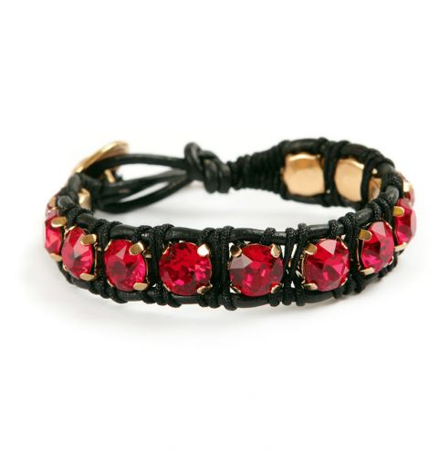 Gold and Red Wrap Bracelet