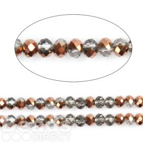"""Bronze 1/2 Coated Essential Crystal Glass Faceted Rondelle Beads 4mm 16""""Strand"""