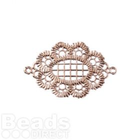 Rose Gold Plated Lace Effect Oval Filigree Connector 18x25mm Pk1