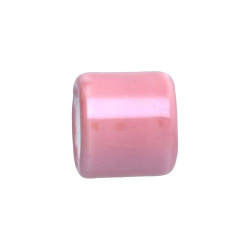 Ceramic beads with defect / cylinder / 15.5x15.5x17mm / pink / hole 10mm / 2pcs